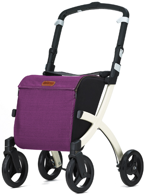 Rollz Flex Ultra Modern Shopper Rollator Front Swivel 4 Wheel Shopping Trolley with Seat and Safety Brake Purple (SMALL SIZE)