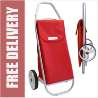 Rolser Com 8 Heavy Duty Folding 2 Wheel Shopping Trolley Red