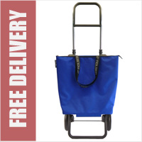 Rolser Mini Bag Plus Expandable Folding 2 Wheel Shopping Trolley with Removable Bag Blue