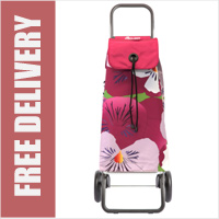 Rolser Pack Taku Floral Wine Print 2 Wheel Shopping Trolley