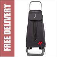 Rolser Jet Cherry 2 Wheel Shopping Trolley Black with Cherry Print