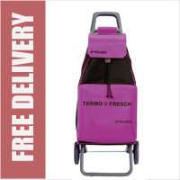 Rolser Mountain Fresh 2 Wheel Shopping Trolley with Cooler Storer Compartment Purple