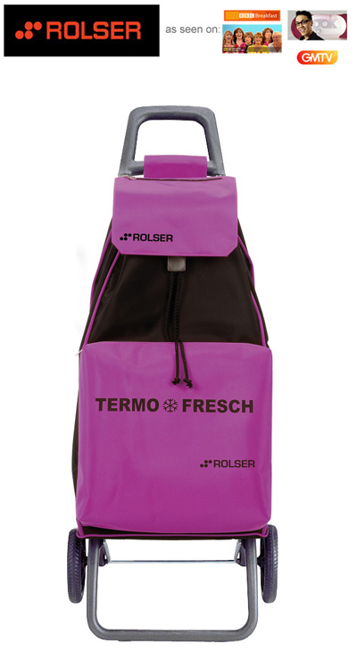 Rolser Mountain Thermo Fresh 2 Wheel Shopping Trolley with Cooler Storer Compartment Purple