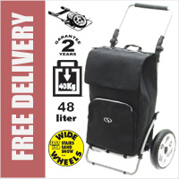 Secc Knokke Heavy Duty 2 Wheel Shopping Trolley with Adjustable Handle and Large Soft Wide Wheels Black
