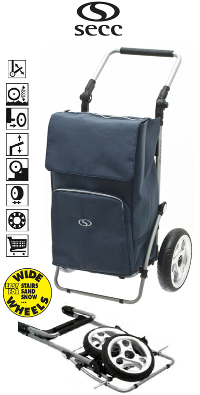 Secc Knokke Heavy Duty 2 Wheel Shopping Trolley with Adjustable Handle and Large Soft Wide Wheels Dark Grey