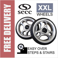 2 x Deluxe Secc XXL Replacement Spare Wheels for Secc branded TWO WHEELED Shopping Trolleys and Carts