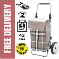 Secc Shangai Heavy Duty 2 Wheel Shopping Trolley with Adjustable Handle and Large Soft Wide Wheels Beige