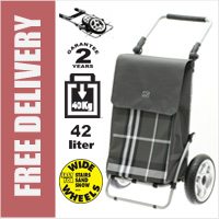 Secc Shangai Heavy Duty 2 Wheel Shopping Trolley with Adjustable Handle and Large Soft Wide Wheels Dark Grey