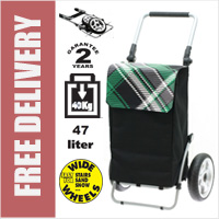 Secc Xiamen Heavy Duty 2 Wheel Shopping Trolley with Adjustable Handle and Large Soft Wide Wheels Black with Green Check Lid