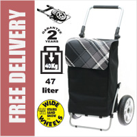 Secc Xiamen Heavy Duty 2 Wheel Shopping Trolley with Adjustable Handle and Large Soft Wide Wheels Black with Grey Check Lid