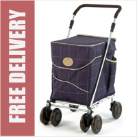 Sholley Sholeco Shopping Trolley in Deluxe Mulberry Blue Check (Standard Size)