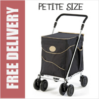 Sholley Sholeco Shopping Trolley in Deluxe Black with Beige Trim (Petite Size)