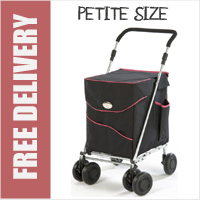 Sholley Sholeco Shopping Trolley in Deluxe Black with Pink Trim (Petite Size)