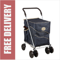 Sholley Sholeco Shopping Trolley in Deluxe Dark Blue Check (Petite Size)