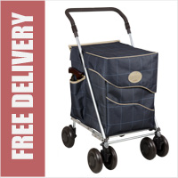 Sholley Sholeco Shopping Trolley in Deluxe Dark Blue Check (Standard Size)