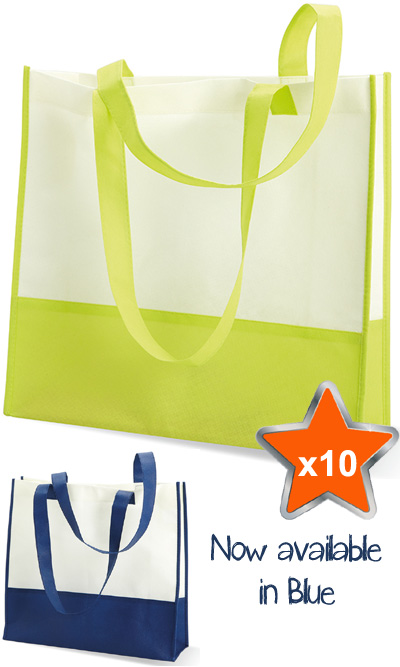 10 x Standard Reusable Shopping Bags in Non Woven Material