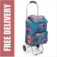Arezzo Limited Edition Small Petite 2 Wheel Shopping Trolley Pretty Petals Green Floral Print