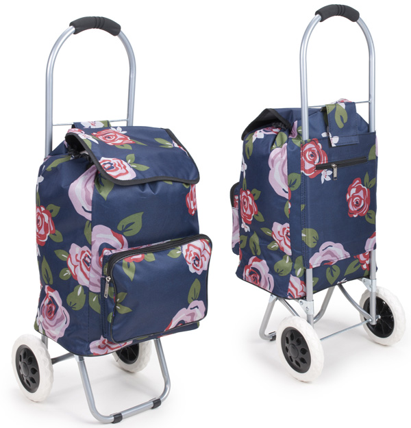 Arezzo Limited Edition Small Petite 2 Wheel Shopping Trolley Rosa Red Floral Print