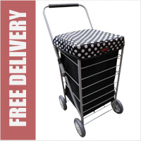 Stafford 4 Wheel Shopping Trolley Black with White Polka Dots