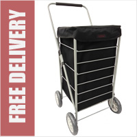 Stafford 4 Wheel Shopping Trolley Plain Black