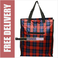 Stafford Reusable Zippered Shopping Bag Shopper with Front Zip Pocket Red Check