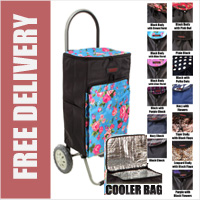 Stafford Limited Edition 2 Wheel Shopping Trolley with Cooler Bag, Large Front Pocket and Full U-Zip Closure