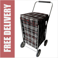 Stafford 4 Wheel Shopping Trolley Black Check