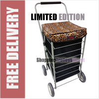 Stafford 4 Wheel Shopping Trolley Black with Leopard Print Lid - LIMITED EDITION