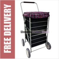 Stafford 4 Wheel Shopping Trolley Black with Purple Check Lid - LIMITED EDITION