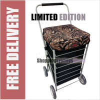 Stafford 4 Wheel Shopping Trolley Black with Tiger Print Lid - LIMITED EDITION