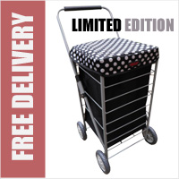Stafford 4 Wheel Shopping Trolley Black with Silver Polka Dots - LIMITED EDITION