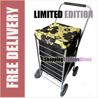 Stafford 4 Wheel Shopping Trolley Black with Yellow/Black Flowers - LIMITED EDITION