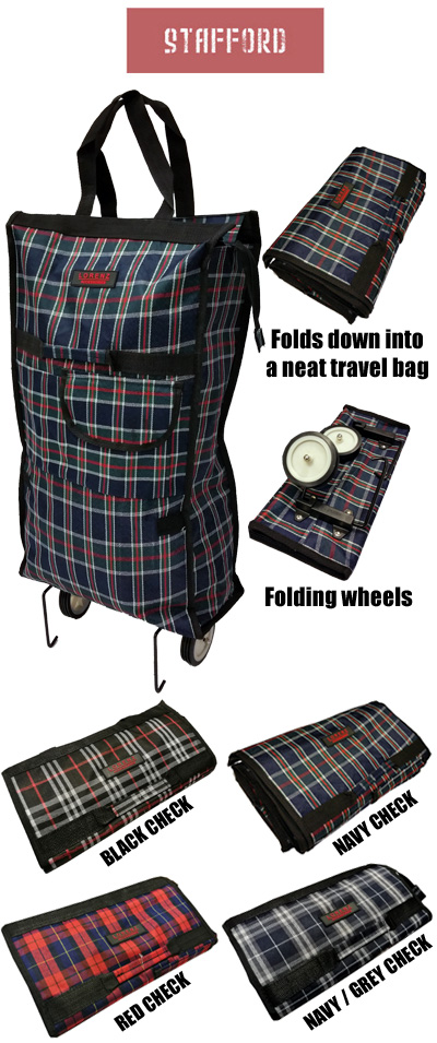 Stafford Lightweight Folding 2 Wheel Shopping Trolley Travel Bag