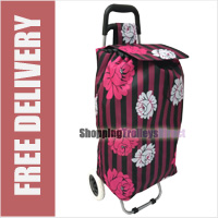 Limited Edition 2 Wheel Shopping Trolley Stripy with Sorbet Floral Print