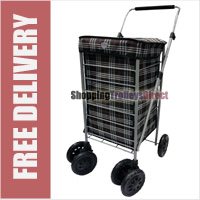 6 Wheel Swivel Shopping Trolley with Adjustable Handle Black Check