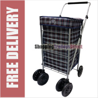 6 Wheel Swivel Shopping Trolley with Adjustable Handle Navy Check