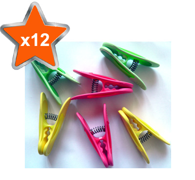 12 x Super Deluxe Jumbo Clothes Line Pegs with Rubber Grip