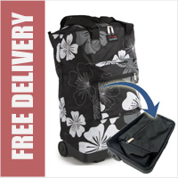 Tahiti Folding Shopping Drag Bag with Adjustable Dual Strap on 2 Wheels Black with White Floral Print