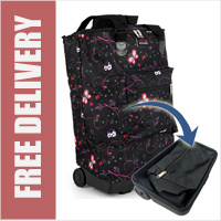 Tahiti Folding Shopping Drag Bag with Adjustable Dual Strap on 2 Wheels Butterfly Glade Black