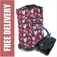 Tahiti Folding Shopping Drag Bag with Adjustable Dual Strap on 2 Wheels Heartbeat Pink