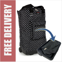 Tahiti Folding Shopping Drag Bag with Adjustable Dual Strap on 2 Wheels Polka Dots Black