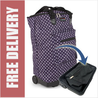 Tahiti Folding Shopping Drag Bag with Adjustable Dual Strap on 2 Wheels Polka Dots Purple