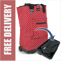 Tahiti Folding Shopping Drag Bag with Adjustable Dual Strap on 2 Wheels Polka Dots Red