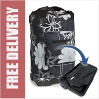 Tahiti Folding Shopping Drag Bag with Adjustable Dual Strap on 2 Wheels Black with Floral Print