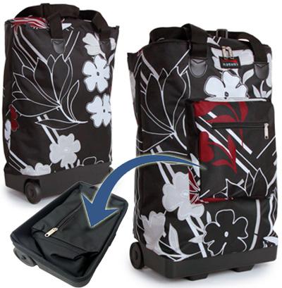 f7ef693a2c Tahiti Funky Folding Lightweight Shopping Bag on 2 Wheels with Adjustable  Dual Strap