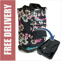 Tahiti Folding Shopping Drag Bag with Adjustable Dual Strap on 2 Wheels Floral Pastel Print