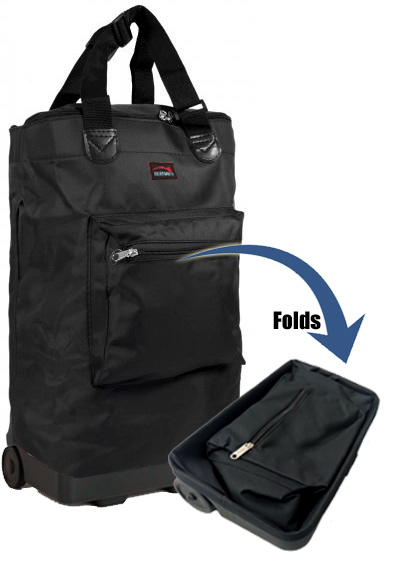 Tahiti Folding Shopping Drag Bag with Adjustable Dual Strap on 2 Wheels Plain Black