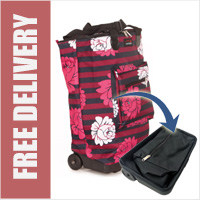 Tahiti Folding Shopping Drag Bag with Adjustable Dual Strap on 2 Wheels Sorbet Print