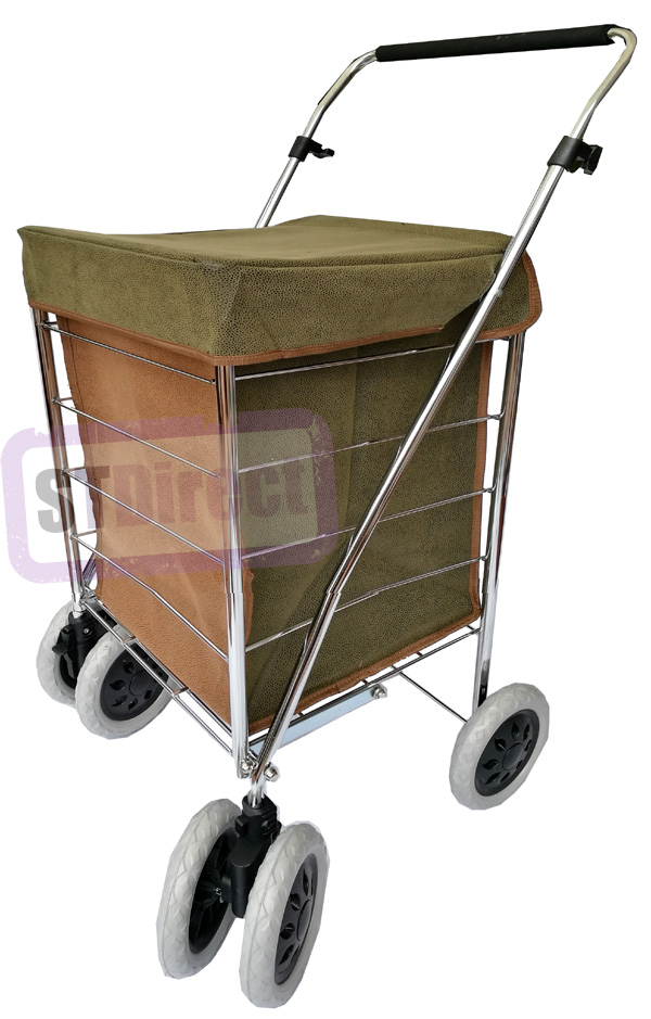 Texas Premium 6 Wheel Swivel Shopping Trolley in Pebble Grain Leather Look Suede Brown/Green - PETITE SIZE