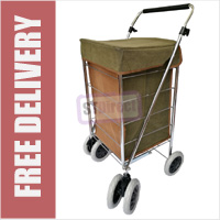 Texas Premium 6 Wheel Swivel Shopping Trolley in Pebble Grain Leather Look Suede Brown/Green - LARGE SIZE